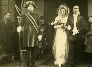 France Roubaix Wedding Couple Old RPPC Victor Vajda Photo 1930