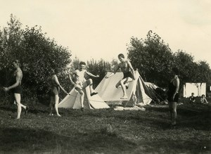 France Roubaix Camping Rope Skipping Tents Fun time Old Victor Vajda Photo 1930