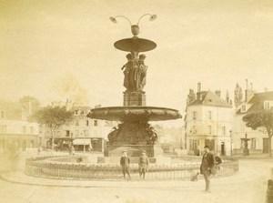 France Melun Place Saint Jean Fountain Old Photo 1890