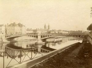 France Melun the Iron Bridge River Church Old Photo 1890