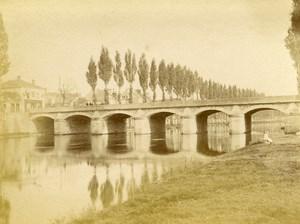 France Melun Stone Bridge River Old Photo 1890