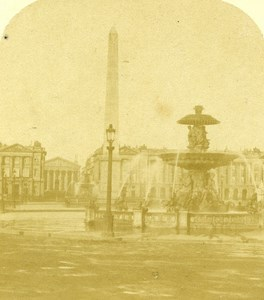 France Paris Place Concorde Old Half Stereo Photo 1860