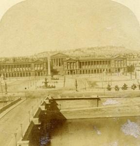France Paris Panorama Place de la Concorde Old Half Stereo Photo 1860