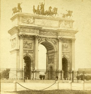 France Paris Triomph Arch Old Half Stereo Photo 1860