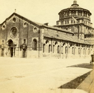 Italy Pavia Church Cathedral Duomo di Pavia Old Half Stereo Photo 1860