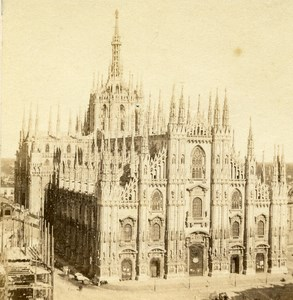 Italy Milan Cathedral Duomo di Milano Old Half Stereo Photo 1860