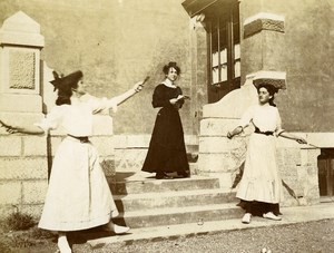 France Sunday in Countryside Young Women Playing Badminton Amateur Photo 1890