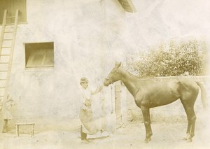 France Saumur M Laget & his Horse Patte de Chat Old Amateur Photo 1890