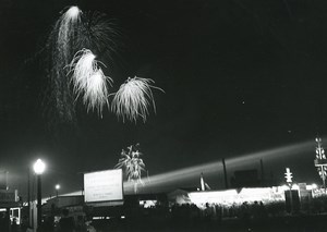 Canada Toronto Canadian National Exhibition at Night Fireworks Old Photo 1950