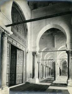 Tunisia Kairouan Interior of Great Mosque Old Photo Neurdein 1900