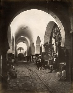 Tunisia Tunis Souk Bazaar Barbouchi Old Photo Garrigues 1890