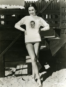Maureen O'Sullivan wearing Johnny Weissmuller top on the beach MGM Photo 1932