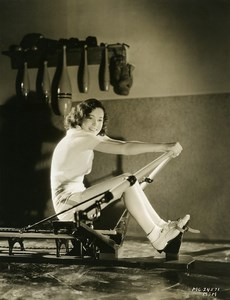 Maureen O'Sullivan doing her exercises at the gym studios MGM Photo 1932