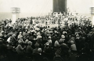 Ocean Liner Ile de France Boxing Match Old Photo 1930