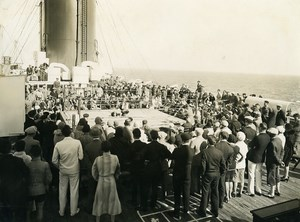 Ocean Liner Ile de France Boxing Wrestling Match Old Photo 1929