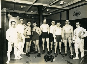Ocean Liner Ile de France the Sports Hall Boxing Fencing Athletes Photo 1930