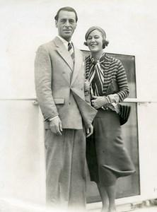 Ocean Liner Ile de France Mr & Mrs Valentin Parera Grace Moore Old Photo 1932