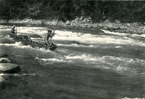 Vietnam Indochina Tonkin Lai Chau Pirogue on the river Old Photo 1925