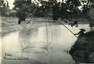Vietnam Indochina Tonkin Vietri Fisherman Fishing Net Old Photo 1925