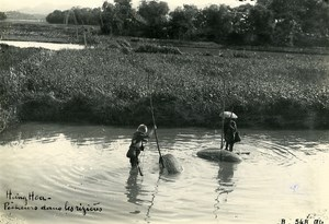 Vietnam Indochina Tonkin Hung Hoa Fishermen in rice fields Old Photo 1925
