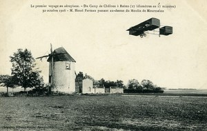 Aviation Henry Farman Biplane in Flight Camp de Chalons Old PC 1908