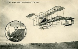 Aviation Pioneer Henri Jullerot on Farman Biplane Vieille Tige old CPA 1910