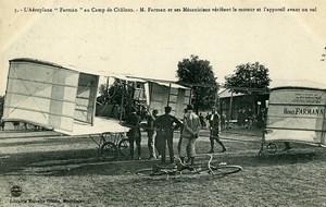 Aviation Henry Farman & Mechanics Biplane Camp de Chalons old Postcard 1908