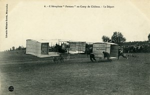 Aviation Henry Farman Biplane Take off Camp de Chalons old Postcard 1908