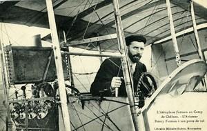Aviation Henry Farman Biplane Camp de Chalons old Postcard 1908