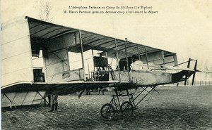 Aviation Henry Farman Biplane Camp de Chalons old Postcard 1908