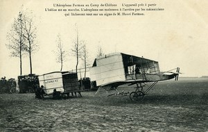 Aviation Henry Farman Biplane Before Take off Camp de Chalons old Postcard 1908