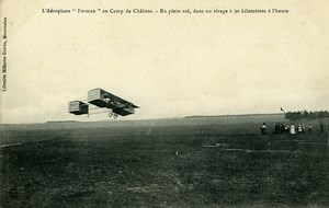 Aviation Henry Farman Biplane in Flight Camp de Chalons old Postcard 1908