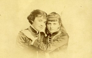 Italia Roma Donatienne & Louise de Villele old Cabinet Card Photo Le Lieure 1883