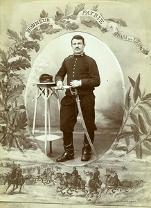 France Lyon Military Soldier Train Equipage Sabre Cabinet Card Photo Grampa 1885