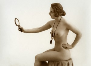 France Risque Nude Woman Study Studio Mirror Old Marcel Meys Photo 1920