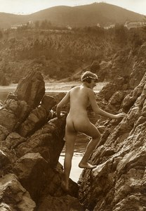 France Risque Nude Study Woman Outdoor Rocks Old Marcel Meys Photo 1920