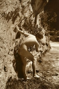 France Risque Nude Study Woman Outdoor Cliff Old Marcel Meys Photo 1920