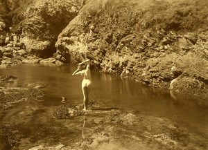 France Risque Nude Study Woman Outdoor River Rocks Old Marcel Meys Photo 1920