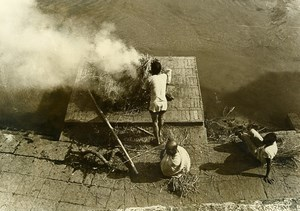 India Scene from Everyday Life Cremation Smoke Hay Old photo 1960