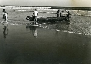 India Scene from Everyday Life Fishing Boat Old photo 1960