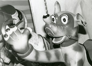 France Merry Go Round Fairground Ride Detail Dog Old Photo 1960