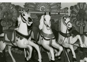 France Merry Go Round Fairground Ride Detail Horses Old Photo 1960