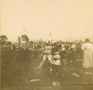 France Jarville Aviation Circuit de l Est Spectators Old Stereoview Photo 1910