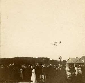 France Jarville Aviation Biplane Flying Circuit de l Est Old Stereo Photo 1910