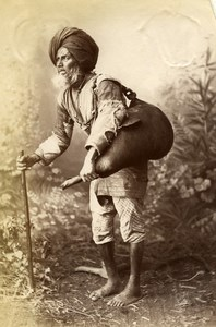 India Lucknow Street Worker Water Carrier Old Albumen Photo 1870
