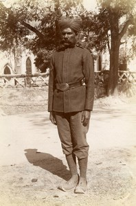 India Lucknow Hasanganj Sikh Policeman Old Albumen Photo 1870