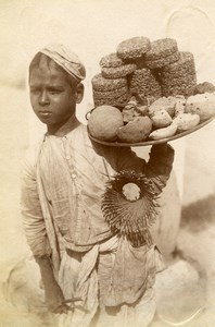 India Lucknow Street Worker Boy Cake Seller Old Albumen Photo 1870