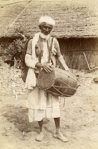 India Lucknow Street Worker Musician Old Albumen Photo 1870