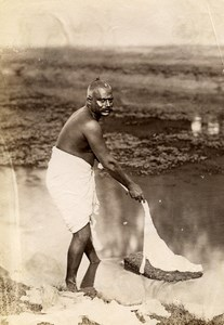 India Lucknow Street Worker Washerman Old Albumen Photo 1870