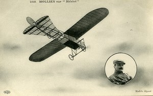 France Mollien on Bleriot Plane Aviation Pioneer Ace Pilot Old PC Postcard 1910